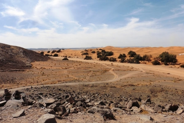 Maroc - Panorama vers les Dunes à Merzouga